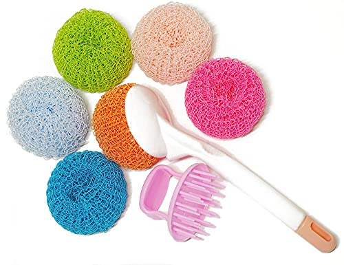 Upgrade Nylon Scrubber Sponge Pack of 6 with Ergonomic Handle for Removing Tough Dirt, Grease from Pots, Dishes, Pan, Stovetop, Cookware, Kitchenware, Non-Scratch, Cut and Dirty Hands Resistant