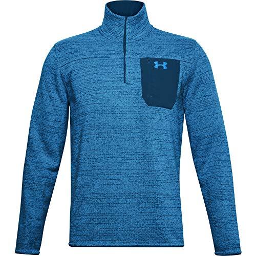 Under Armour Men's Specialist Henley 2.0 1/4 Zip T-Shirt , Graphite Blue (581)/Electric Blue , Medium
