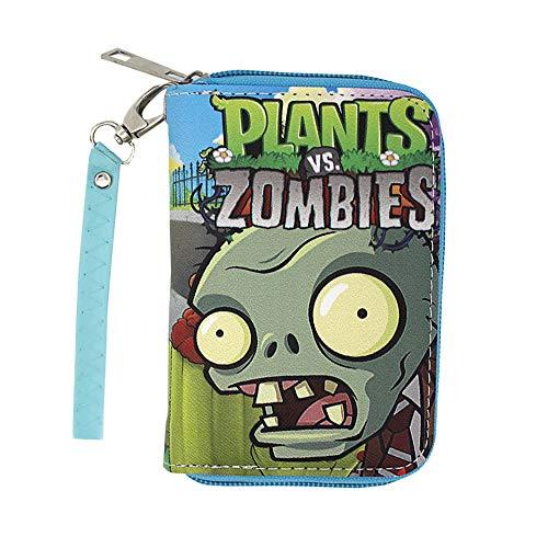 Plants vs. Zombies Brieftasche Multifunktionale Mode Vintage Männer Echtes Leder Sperrmappe Mit Reißverschluss Münzbeutel Männer (Color : Blue, Size : 9 X 3 X 13cm)