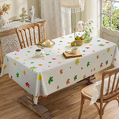 """AIRCOWRIE Vinyl Tablecloths Waterproof, Heavy Duty Oil Proof Spill Proof Plastic Table Cloth, Wipe Clean PVC Table Cover for Thanksgiving / Harvest / Fall Season (Autumn Leaves, 54""""×78"""", Rectangle)"""