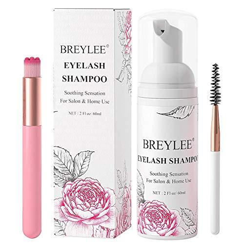 Eyelash Extension Shampoo & Brush + Mascara Wand,Eyelash Shampoo Foaming Cleanser for Professional Salon and Home Care ,Wash for Extensions and Natural Lashes, Nourishing Formula/Paraben & Sulfate Free(60ml/2fl.oz)