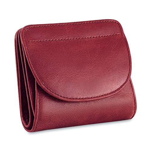 Kattee Damen klein Echtes Leder RFID Schutz mit Münzfach Mini Geldbörse Fraun Portmonee Brieftasche Geldbeutel Mädchen