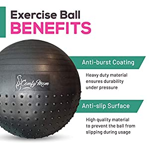 Comfy Mom Exercise Ball – Pregnant Workout for Stability with Yoga Ball – Ease Labor and Delivery Through Pregnancy Exercise – Relieve Back Pain with Anti-Burst Birthing Ball, Air Pump Included