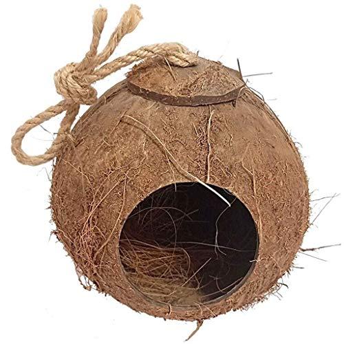 ZJDK Jaula de pájaros Cáscara de Coco Jaula de pájaros Decoración de jardín Natural al Aire Libre Decoración de casa pequeña y cálida Creativa Jaula de Loros (Color: E)