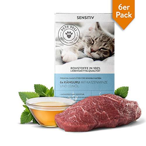 Nassfutter Katze Känguru 6 x 85 g | 100% Lebensmittelqualität, ohne unnötige Zusatzstoffe | getreidefreies Katzenfutter nass mit hohem Fleischanteil | Premium-Qualität, Vorteilspackung