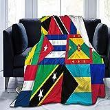 Karibik und Westindien Nationalflagge Ultraweiche Fleecedecke Anti-Pilling Leichter Plüsch Gemütlich Geeignet