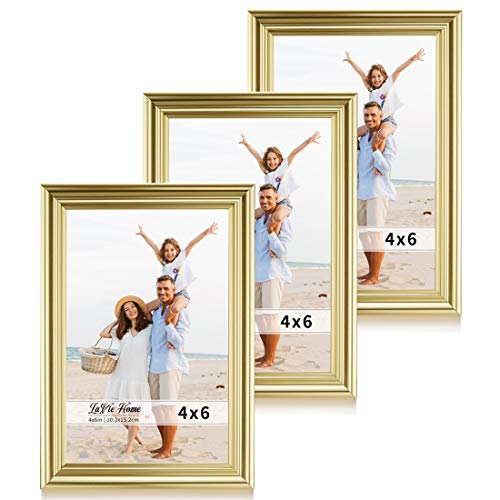 LaVie Home 4x6 Picture Frames(3 Pack, Gold) Single Photo Frame with High Definition Glass for Wall Mount & Table Top Display, Set of 3 Basic Collection