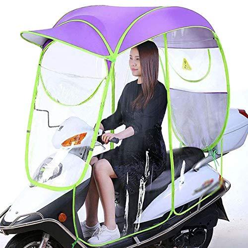 GFYWZ Paraguas Impermeable Completamente Cerrado para Bicicleta eléctrica, Parasol Plegable Universal para Motocicleta con ventilación Trasera,Púrpura,B