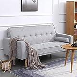 Salón gris sofá cama de 2 plazas tela de lino sofá cama doble futón para la oficina durmientes adulta habitación...