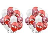 Decoracion Nochevieja 2021 Set,30 látex y confeti globos,Happy New Year globos, para Fiesta de Cumpleaños, Navidad, Fiesta, Año Nuevo (rojo)