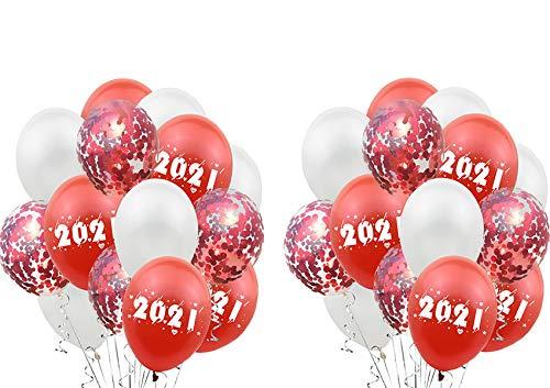 Decoracion Nochevieja 2021 Set, 30 látex y confeti globos, Happy New Year globos,  para Fiesta de Cumpleaños,  Navidad,  Fiesta,  Año Nuevo (rojo)
