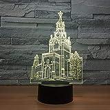 GRJAWN Paisaje Arquitectónico De La Torre Del Reloj 3D Lámpara Led Luz De La Noche 16 Colores Con Control ,Regulable Lámpara De Atmósfera Led Decoración Del Dormitorio, Cumpleaños Regalos De Mujer Niñ
