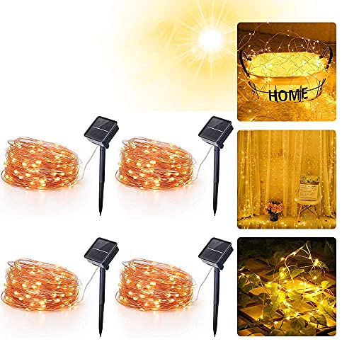 Solar String Lights Outdoor Waterproof Solar Fairy Lights 5V Warm White Twinkle Lights Solar Power Outdoor String Lights for Patio, Garden, Gate, Yard, Party, Wedding, Christmas