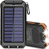 Solar Charger 20000mAh, Msnteta Portable Solar Power Bank for Cell Phone with Compass and Flashlight, Dual USB Output and Waterproof External Backup Battery Compatible with All Phones and Tablet etc.