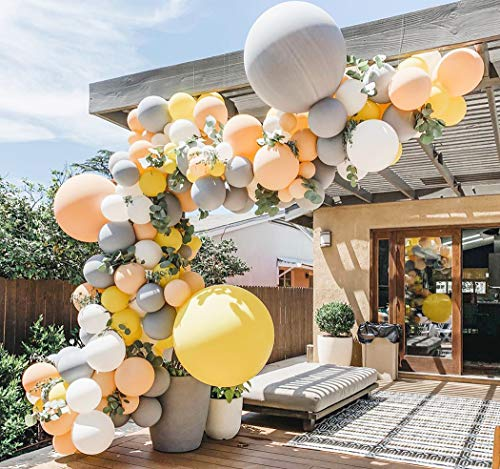 Beaumode DIY Blush Yellow Gray Balloon Garland Arch Kit for Fall Birthday Rustic Wedding Baby Shower Thanksgiving Tea Party Bridal Shower Decor Bachelorette Backdrop Party Decorations