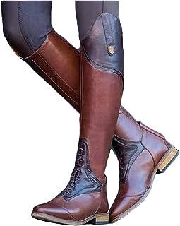 Homme Fermeture Éclair Équitation Militaire en Cuir PU Genou Équitation Bottes Chaussures EU Taille