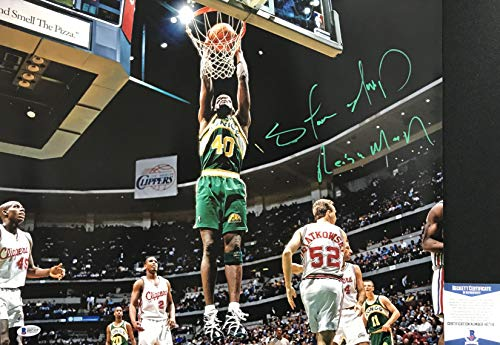 Fantastic Prices! THE REIGN MAN! Shawn Kemp Signed SEATTLE SONICS Slam Dunk 16x20 Photo #1 BAS