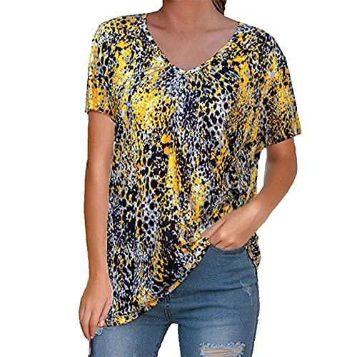 Camisas de túnica con Estampado Floral para Mujer Manga con Cuello en V Blusa Casual Blusa de Manga Corta con Estampado de Cuello en V para Mujer Blusa con Cuello en V para Mujer Camisas Blusas
