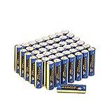 Woozoo by Ohyama, lote de 48 pilas alcalinas AA, 1,5 V, 2800 mAh, larga vida útil de 10 años - Dry Cell Battery LR6-AA - Amarillo