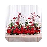50/100センチDIYの結婚式の花の壁の配置用品シルク牡丹ローズ人工花行の装飾結婚式の鉄のアーチの背景、赤B、50センチ