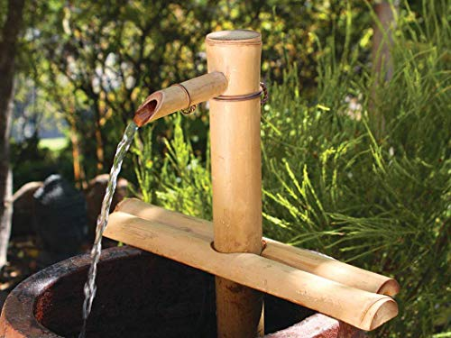 Bamboo Accents Water Fountain with Pump for Patio, Indoor/Outdoor, Adjustable 12-Inch Half-Round Flat Base, Smooth Split-Resistant Bamboo to Create Your Own Zen Fountain Bamboo Indoor Tabletop Fountain
