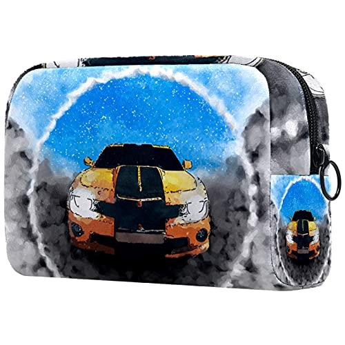 Yitian Bolso cosmético del coche de la historieta para las mujeres, bolso espacioso adorable del maquillaje de viaje de las bolsas de