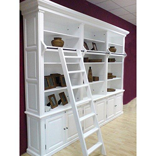 ** Landhaus-MÖBEL Bücherschrank Washington 3er weiß B 305cm Massiv