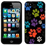 Apple iPhone 5s Multi Dog Paws on Black Phone Case Cover