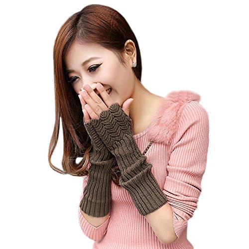 West See Damen Strick Winter fingerlose Handschuhe weiche warme Fausthandschuhe Armstulpen Handwärmer (Khaki)