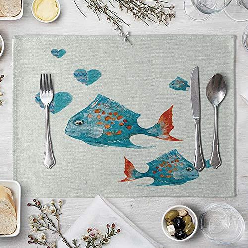 AMDXD Manteles Individuales 2 Unidades, Pescado Tapete Mesa de Cocina, Algodon Lino, 42x32cm, Azul Rojo