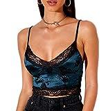 Top con impresión floral para mujer con encaje, sin mangas, sexy, espalda descubierta, cuello en V, estilo vintage Y2K turquesa L