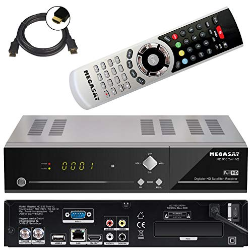 Megasat HD 935 Twin V2 HD-SAT-Receiver Aufnahmefunktion, Ethernet-Anschluss, Twin Tuner Anzahl Tuner, 201130, Schwarz