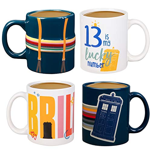 Doctor Who Kaffeebecher-Set, Keramik, 313 ml, 4 Stück