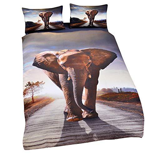 HGFHKL Tier Elefant High Definition Druck 3D-Druck Bettwäsche-Set Bettbezug Kissenbezug, geeignet für Teenager und Kinder Single King-Bett 3 Stück