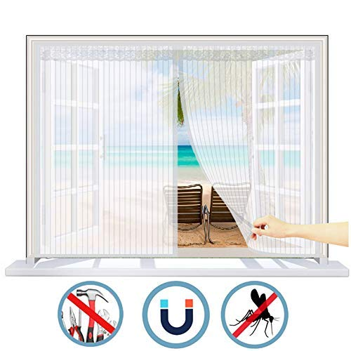 PLEASUR raamnet voor insecten, grote magnetische, zelfklevende gordijnen voor het raam, houdt muggen op afstand en onzichtbaar, elke afmeting, voor het bevestigen van ramen en boogramen, katoen, Windows - wit, 125 x 85 cm (B x H)