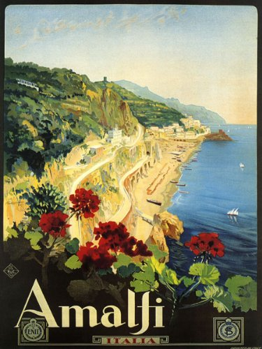 """Amalfi Is a Town in the Province of Salerno Close to Naples Italy Travel Italiana Italian 20"""" X 30"""" Image Size Vintage Poster Reproduction"""