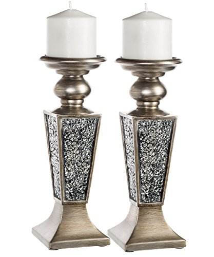 Creative Scents Schonwerk Pillar Candle Holder Set of 2- Crackled Mosaic Design- Home Coffee Table Decor Decorations Centerpiece for Dining/Living Room- Best Wedding Gift (Silver)