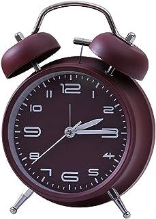 重い寝台夜ライトバックライトサイレントデザイン用ホーム寝室ベッドサイド学生クォーツ置時計金属のためのツインベルの目覚まし時計 Jrbedwlijzn (Color : Wine red, Size : 10.5cm*5.5cm*16.5cm)