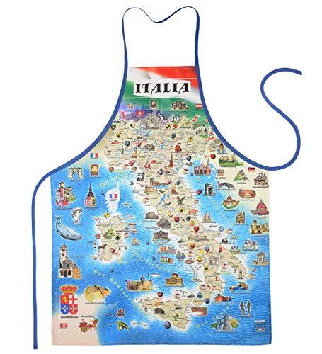 EllerDesign Italien Souvenir-Schürze: Italian Map für einen unvergesslichen Urlaub, mit GRATIS Urkunde Für die Neue Grillsaison diesen Sommer oder den