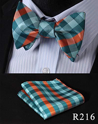 CCYUANG Krawatte Herren Dot Seide Jacquard gewebte Herren Fliege Schleife Einstecktuch quadratisches Taschentuch Taschentuch Set-R216