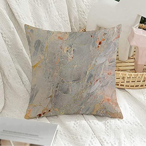 Funda de almohada cuadrada decorativa de mármol de la naturaleza italiana con efecto de rebanada, textura abstracta de cristal marrón, textura de roca para decoración de sofá, 50,8 x 50,8 cm