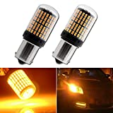 EverBright 2800Lumen 7507 Led Bulb, No Hyper Flash BAU15S PY21W 5009 12496 Front Rear Turn Signal Bulb, Canbus Error Free Led Turn Signal Lights Amber Yellow 3014 Chipset 144SMD (Pack of 2)