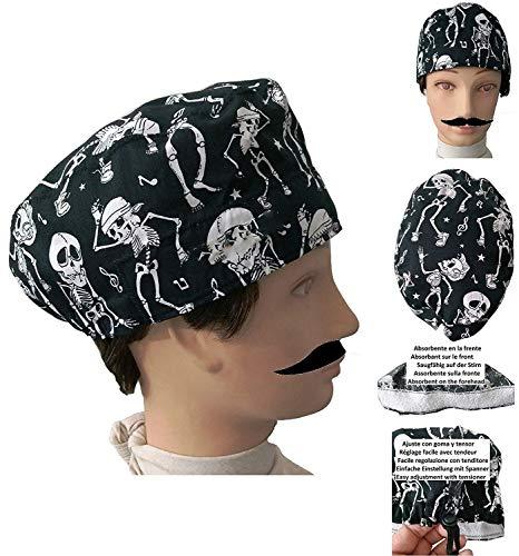 UOMO Cappello chirurgico SCHELETRI per Capelli Corti chirurgo, dentista, veterinario, asciugamano sulla fronte, regolabile a proprio piacimento
