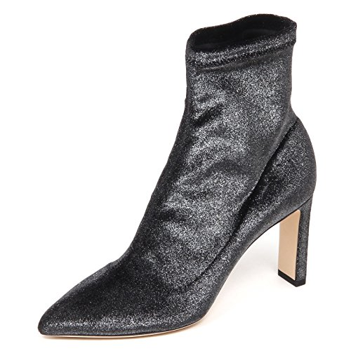 JIMMY CHOO E6574 Tronchetto Donna Dark Grey Stretch Metallic Velvet Boot Woman [36]