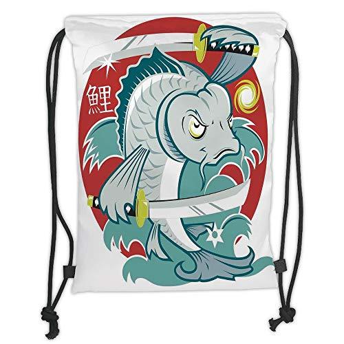Fevthmii Drawstring Backpacks Bags,Japanese,Koi Samurai Two Swords on Red Background Martial Art Animal Fighter Illustration,Green White Soft Satin,5 Liter Capacity,Adjustable String Closur