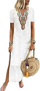 neveraway Womens Floral Print V-Neck Summer Short-Sleeve Split Long Dress