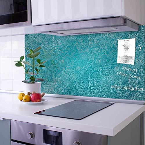 banjado Glas Spritzschutz für Küche und Herd | Küchenrückwand mit Motiv Mandala Landschaft | Glasrückwand selbstklebend ohne Bohren | Küchenspiegel magnetisch und beschreibbar (110x55cm)