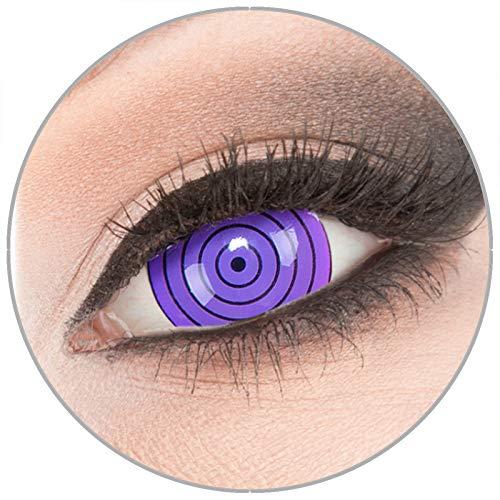 Farbige violette Crazy Fun Mini Sclera 17 mm Kontaktlinsen 1 Paar 'Violet Rinnegan' mit Behälter - Topqualität von 'Evil Lens' zu Fasching Karneval Halloween ohne Stärke