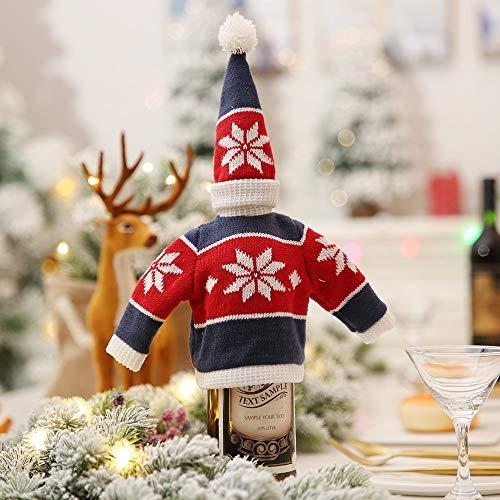 LYFWL Kerstdecoratie Creatieve Breien Rode Fles Sets Versierd Hotel Restaurant Supermarkt Wijn Champagne Fles Cover Mouw Blauw En Rode Sneeuwvlok Hoed 15 * 7Cm Kleding 15 * 29Cm