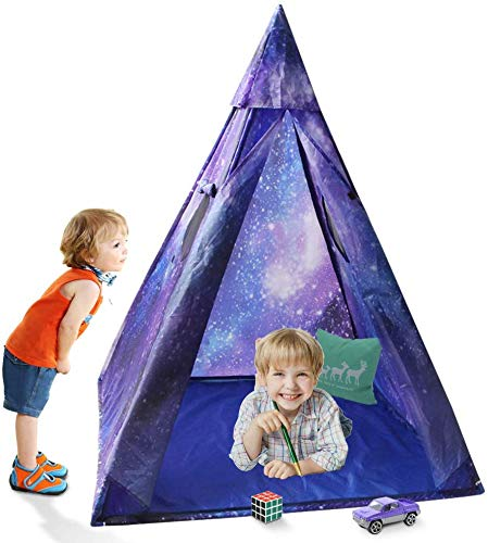 Kids Indian Teepee Play Tent for Boys and Girls , Galaxy Playhouse Princess Castle for Toddler Outdoor and Indoor Fun Plays (B)